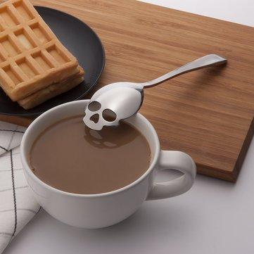 KCASA KC-FS05 Skull Shape Stainless Steel Tea Coffee Sugar Stirring Spoon Scoop Tea Spoon Cooking Spoon 1 Piece Skull Eyes Shape Random