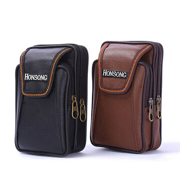 Faux Leather Casual Double Zipper Phone Bag Waist Bag For Men