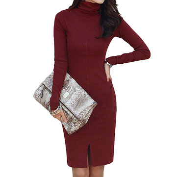 Casual Slim Pure Color Long Sleeve High Collar Women Bodycon Bottom Dress