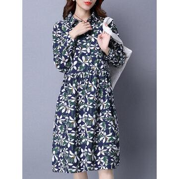 Zarif Çiçekli Baskılı Uzun Kol Kadın Yaka Yüksek Bel Gömlek Elbise
