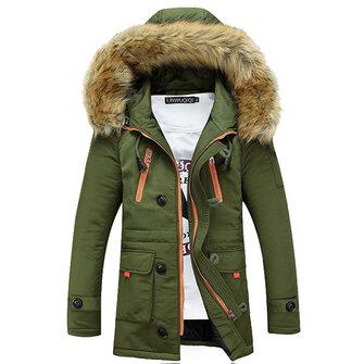 पतन शीतकालीन वस्त्र पुरुषों कपास - गद्देदार स्लिम हूडेड मोटी फर कॉलर लांग कोट