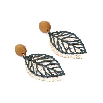 Simple Style Wood Hollow Leaves Ear Drop Earring  for Women