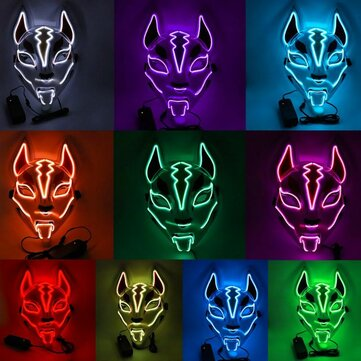 Costume Props Neon Led Luminous Joker Mask Carnival Festival Light Up EL Wire Mask Japanese Fox Mask Halloween Christmas Decor