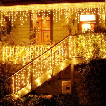 크리스마스 4M 96 LED 실내 야외 활동 문자열 조명 110-220V 커튼 고 드 름 드롭 LED 파티 정원 무대 장식 조명