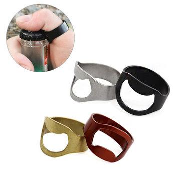 AOTU 24mm venkovní EDC Mini prstýnka Ring Opener na pivo Nerezová ocelová lahvička na otvíráky Ring Tool Kit