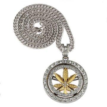 Hip Hop Spinning Snake Rantai Marijuana Gold Leaf Pendant Necklace Grosir untuk Pria