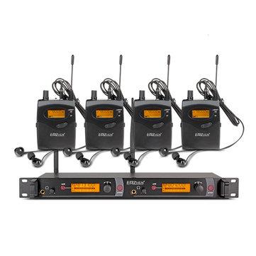ERZhen In Ear Wireless Stage Monitor System 2 Channel 4 Bodypack Karaoke Microphone System