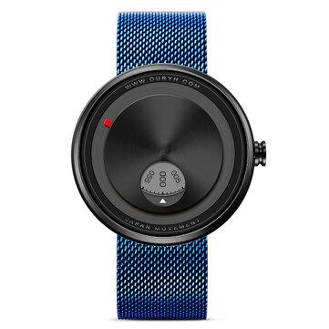SINOBI 9743 Creative Watch Rustfrit stål Strap Rotate Dial Unisex Wrist Watch