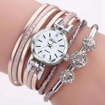 Duoya Luxury Ladies Silver Crystal Clock Women Bracelet Quartz Watch