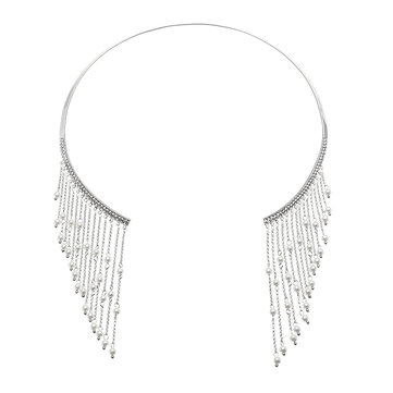 JASSY® Elegant Pearl Necklace Platinum Plated Gemstone Inlay Tassel Clavicle Collar Gift for Women