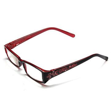Red Female Diamond Flower Frame Presbyopic Reading Glasses Eyeglasses 1.0 1.5 2.0 2.5 3.0 3.5 4.0