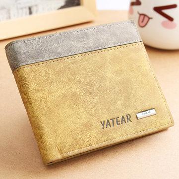 メンズPUレザー二つ折り財布IDビジネスクレジットカードホルダー