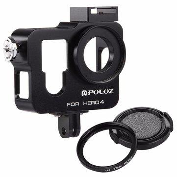 PULUZ PU153 Housing Shell Aluminum Alloy Protective Case Cage W/ UV Lens Filter Lens Cap for GoPro Hero 4 / Hero4