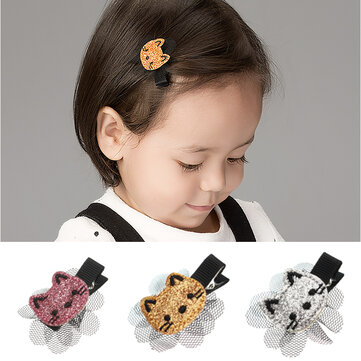 Cute Gold Silver Pink Color Shiny Cat Hairpin Flower Lace Hair Clip Kid's Hair Accessories