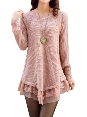 सुरुचिपूर्ण महिला लंबी आस्तीन फीता सिलाई शुद्ध रंग बुना हुआ स्वेटर
