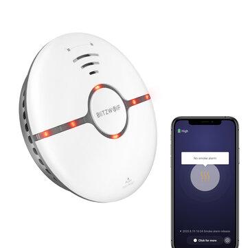 BlitzWolf BW IS7 WiFi Smoke Detector LED Indicator 360 Sensing Fire APP Remote Alarm