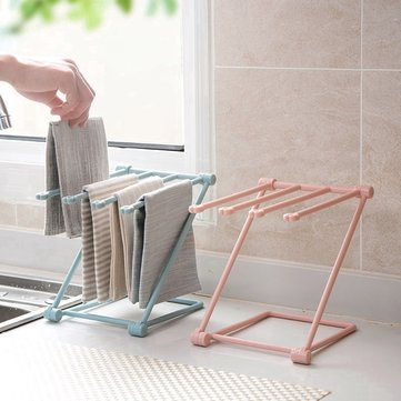 1Pc Folding Cloth Towel Rack Kitchen Supplies Punch-free Storage Rack Cup Holder