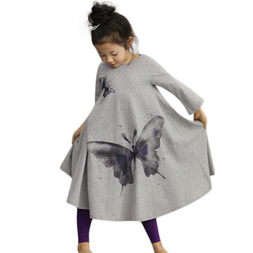 Kid Girls Butterfly Printed Long Sleeve Dress