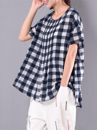 Blusa plissada de manga curta com mangas curtas para mulheres