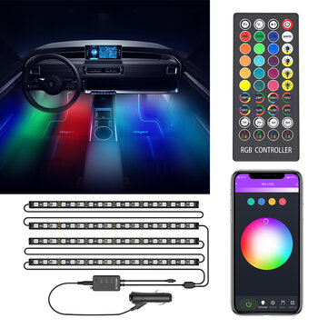 BlitzWolf BW LT35 Bluetooth RGBIC Car Interior Strip Lights with 3 Simple Control Methods Vivid RGBIC Lighting Effect Sync with Music Activate Music Mode and Scene