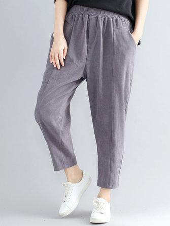 Dorywczo luźne, elastyczne spodnie z wysokiej talii w czystych kolorach
