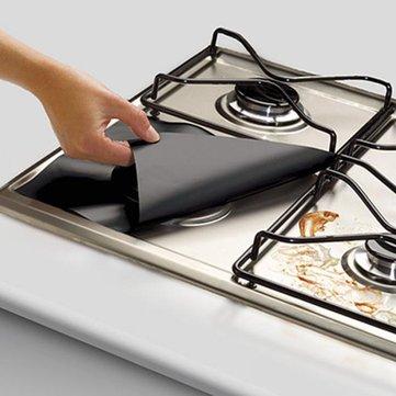 Honana 4PCS Kitchen Reusable Aluminum Foil Gas Stove Burner Cover Protector Liner Clean Mat Pad