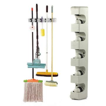 5 Position 6 Hooks Wall Mounted Mop Broom Holder Hanger Kitchen Shelf Storage Holder Home Garage Storage Systems Organizer Tool
