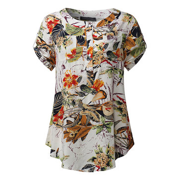Mulheres Casual Impresso Patchwork Short Sleeve Rayon Blusas