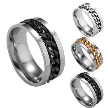 Titanium Steel Rotating Chain Finger Rings Fashion Style Steel Ring For Men