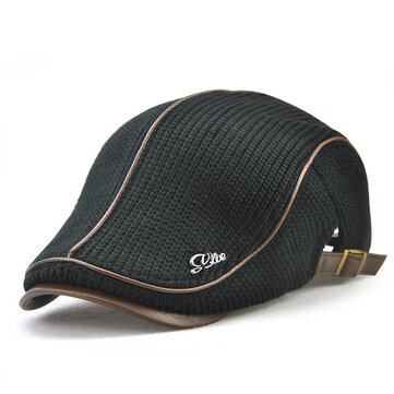 Men's Knit Cap Hat Padded Warm Beret Caps Casual Outdoor Visor Forward Hat