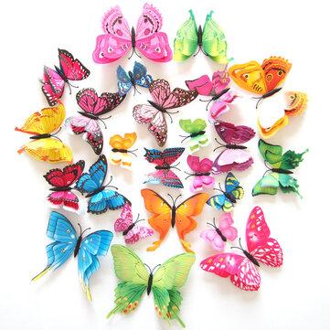 12Unids 7Colores 3D Pegatina de Mariposa de Doble Capa de imán para el Refrigerador
