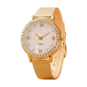 Perempuan Kristal Roman Numeral Alloy Band Watch