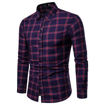 Mens Business Casual Stitching Plaid Knappar Långärmad Slim Skjortor