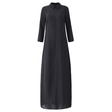 महिला सेक्सी स्प्लिट ब्लैक शिफॉन लांग आस्तीन लूज मैक्सी ड्रेस