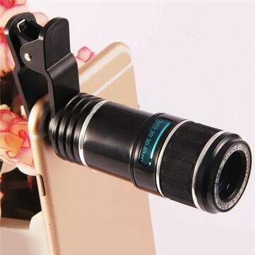 6ec24aca2da808 12X Universal Telephoto Lens Mobile Phone Optical Zoom Telescope Camera For  iPhone Xiaomi Huawei
