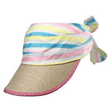 महिला ग्रीष्मकालीन इंद्रधनुष शीर्ष खाली सन हैट आउटडोर खेल सनस्क्रीन बेसबॉल कैप