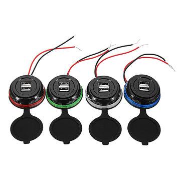 12-24V 3.1A Dual USB Car Charger LED Indicator