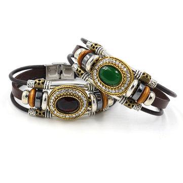 Retro Unisex Multilayer Stainless Steel Beads Bracelet Ethnic Rhinestone Geometric Leather Bracelet