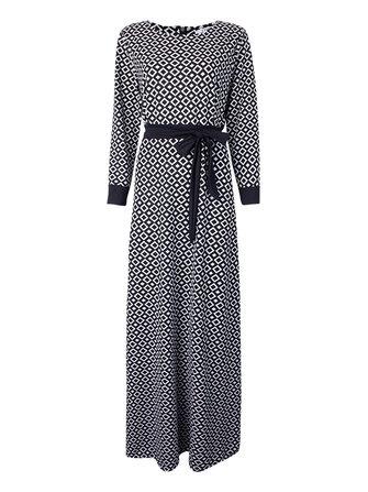 बेल्ट के साथ विंटेज सुरुचिपूर्ण महिला प्लेड लंबी आस्तीन मंजिल लंबाई पोशाक