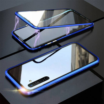 Buy Bakeey 360º Curved Magnetic Flip Double-sided 9H Tempered Glass Metal Full Body Protective Case for Realme X2 / Realme XT with Litecoins with Free Shipping on Gipsybee.com