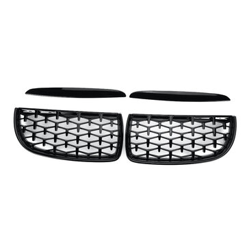 Pair Glossy Black Front Kidney Grilles Upper Hood Eyelids Diamond Style For BMW 3-Series E90 E91 2005-2008