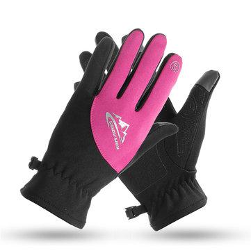 Mùa đông ấm nhiệt chống thấm nước đi xe đạp đầy đủ Găng tay ngón tay Màn hình cảm ứng
