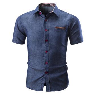 Herr Designer Summer Thin Patchwork Loose Denim Shirts