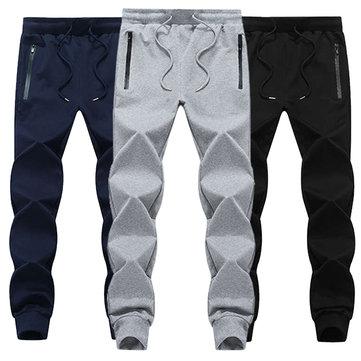 Mens Plus גודל מקורי אלסטי מותן ריצה ספורט מכנסיים מוצק צבע רזה מכנסיים ספורט