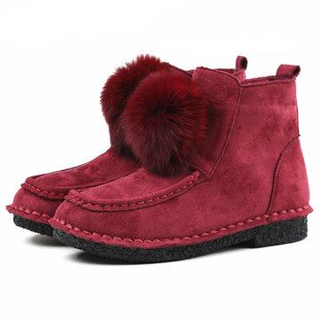 女性のための冬のファーライニング快適なコットンアンクルブーツ