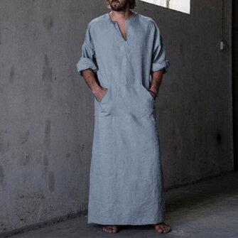 INCERUN Vintage Loose Comfy Cotton Kaftan Tops Plue Size Long Robe Loungewear Tunics for Men
