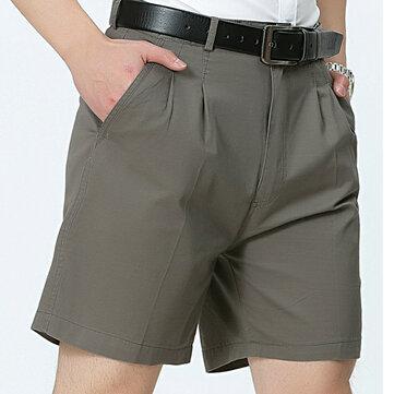 मध्य आयु वर्ग पुरुषों व्यापार आरामदायक गोल्फ शॉर्ट्स ग्रीष्मकालीन कपास घुटने की लंबाई सूट शॉर्