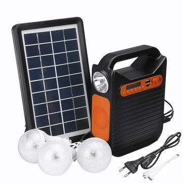 25W Solar Powered System Emergency DC System Light Kit Solar Generator FM Radio Audio USB Card Power Generation With Solar Panel