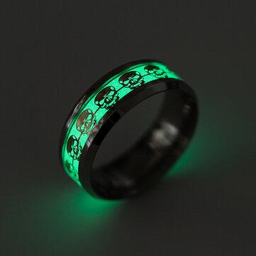 Punk Skull Luminous Ring Titanium Steel Finger Ring Retro Gift for Men