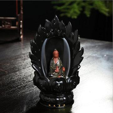 Cerámico Backflow Quemador de cono de incienso Godness Guanyin Buddha Quemador de budista budista Horno fragante